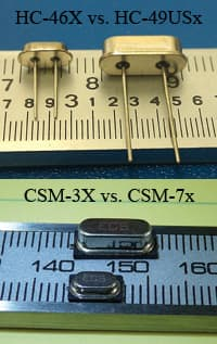 Image of ECS Inc International's HC-46X and CSM-3X Quartz Crystals