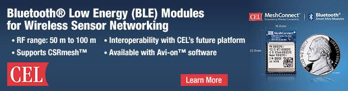 CEL Bluetooth® Low Energy (BLE) Modules for Wireless Sensor Networking