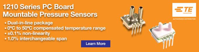 TE Connectivity Measurement Specialties 1210 Series PC Board Mountable Pressure Sensors