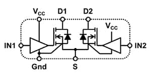 Diagram of EPC's eGaN integrated driver IC