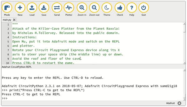 Image of Adafruit's open source programming interface called Mu