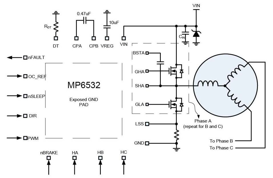 mp6532 brushless dc motor pre-driver