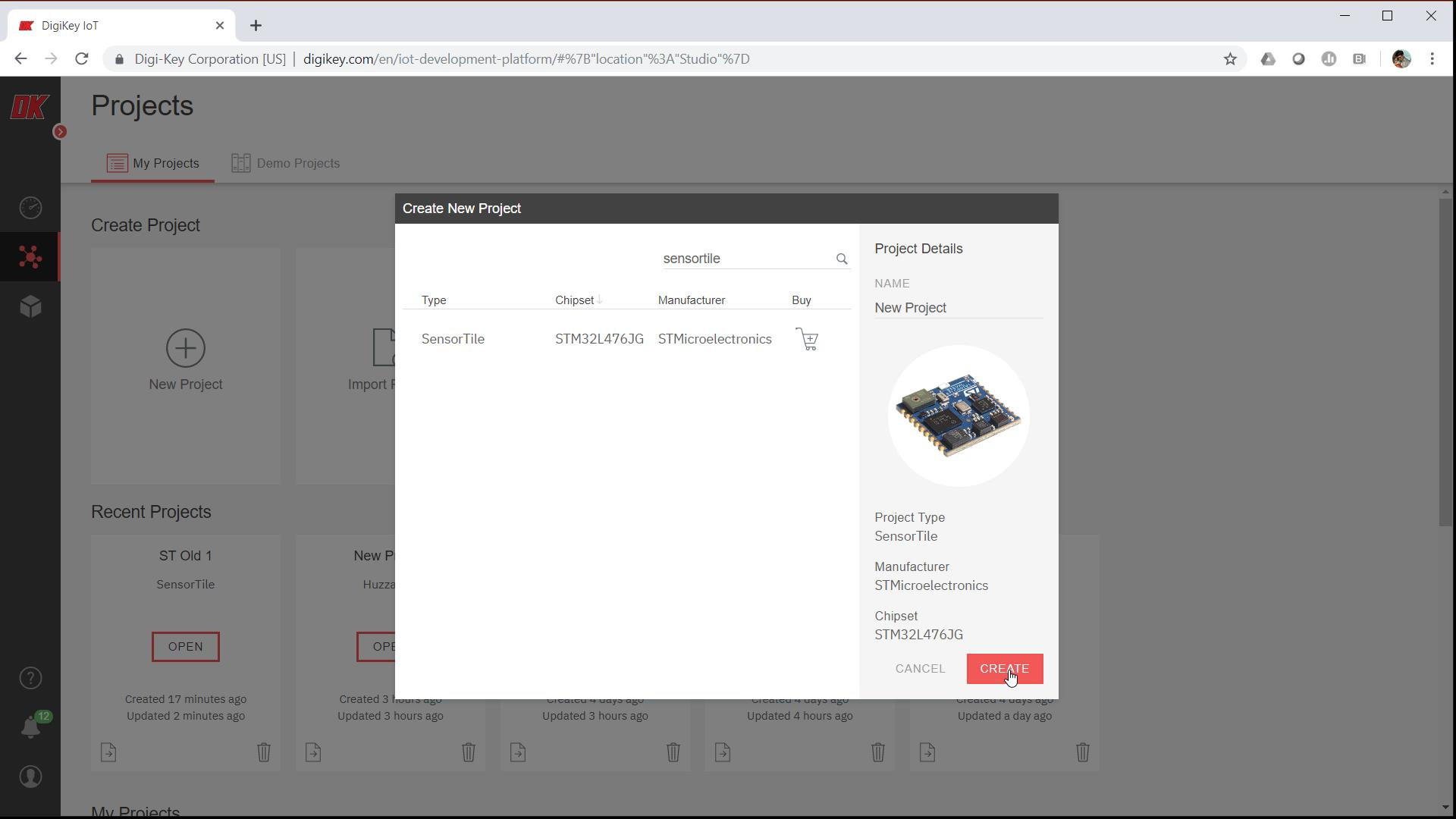 Create a new project in DigiKey IoT Studio